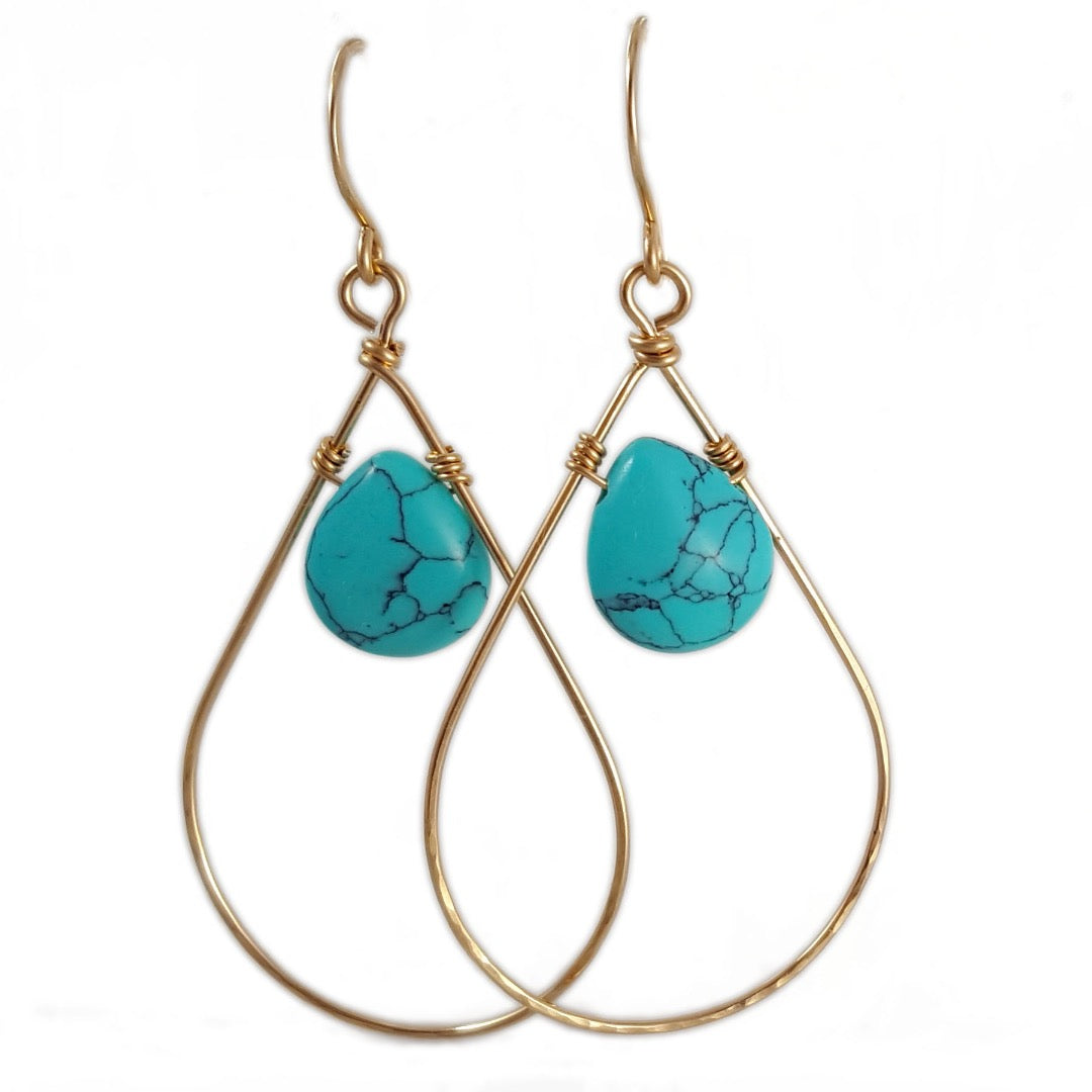 Turquoise Teardrop Hoop Earrings | Hand-forged collection