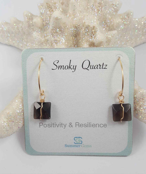 Smoky quartz drop earrings | Petal hoop collection