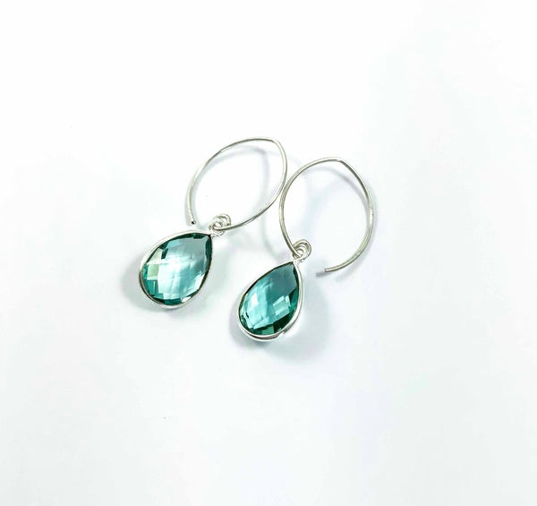 Clear Mint crystal teardrop  earrings | Petal hoop collection
