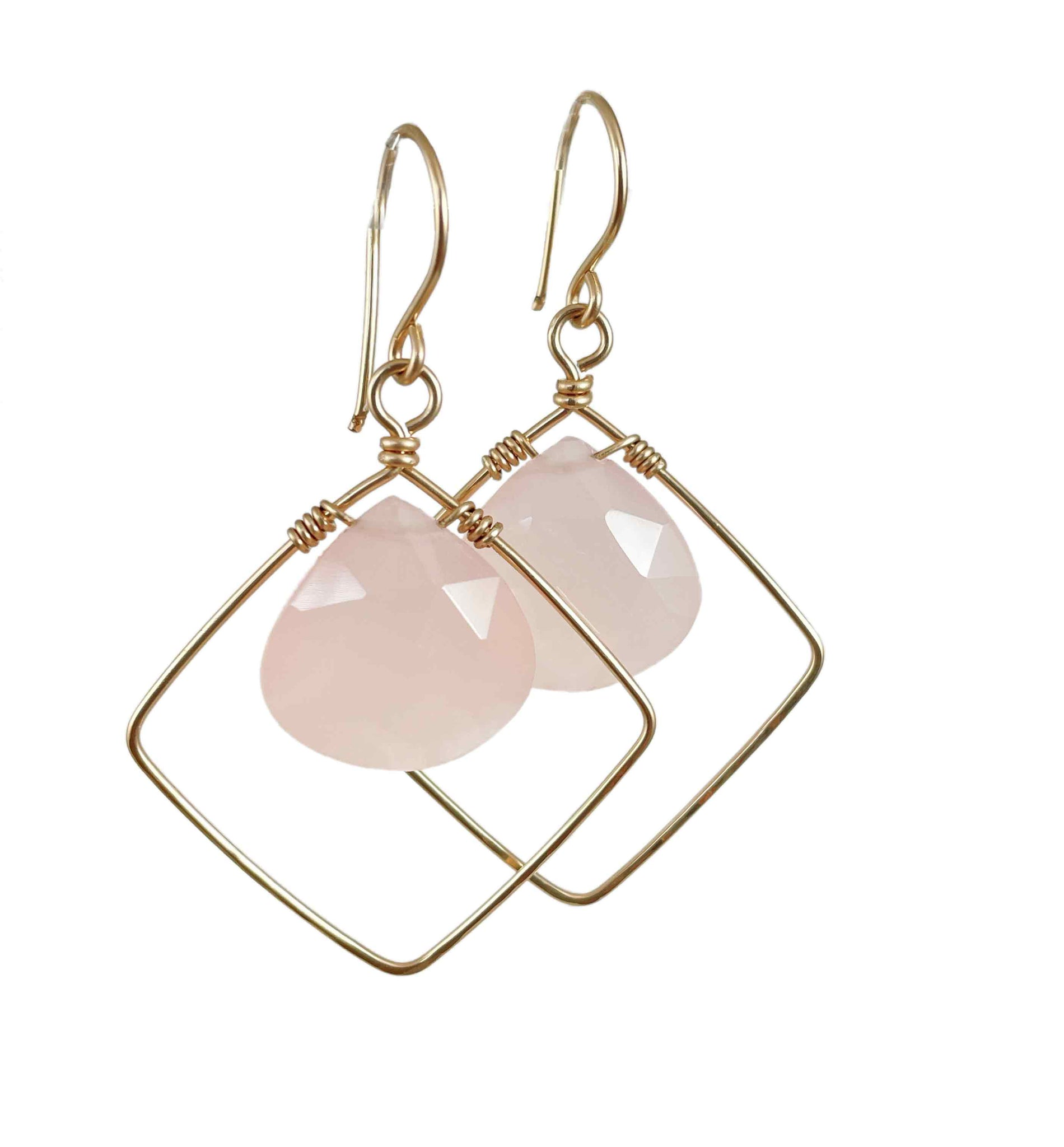 Pink chalcedony diamond earrings | Hand-forged collection