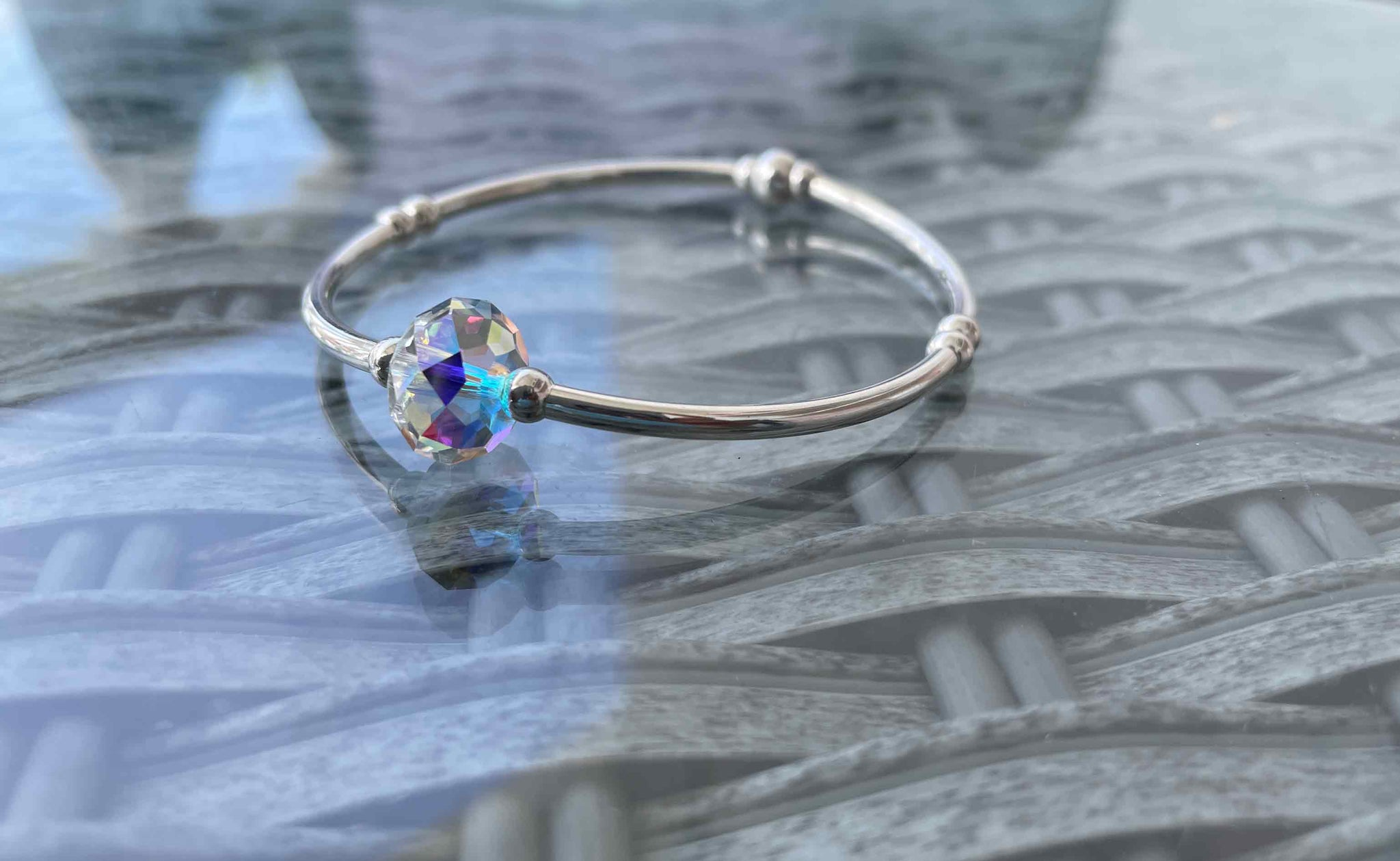 Silver solitaire crystal bangle | Stackable collection