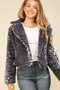 Leopard Grey Fur Jacket
