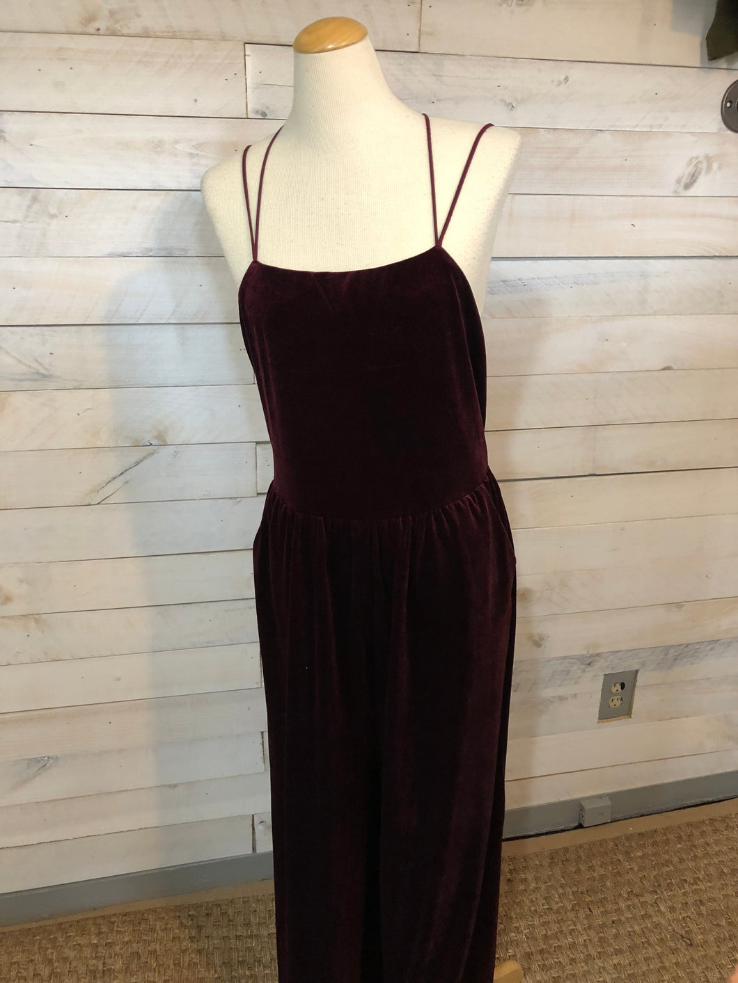 Velvet Jumpsuit Wine