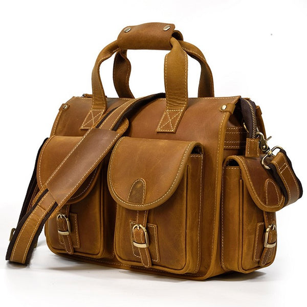 Aviator Carry-All Rustic Leather Briefcase | Grittyrustic.com