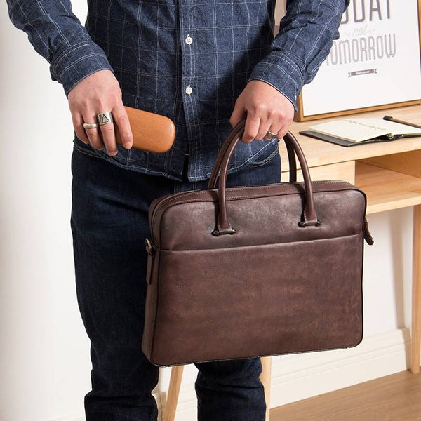 Birmingham Full-Grain Leather Portfolio Briefcase | Grittyrustic