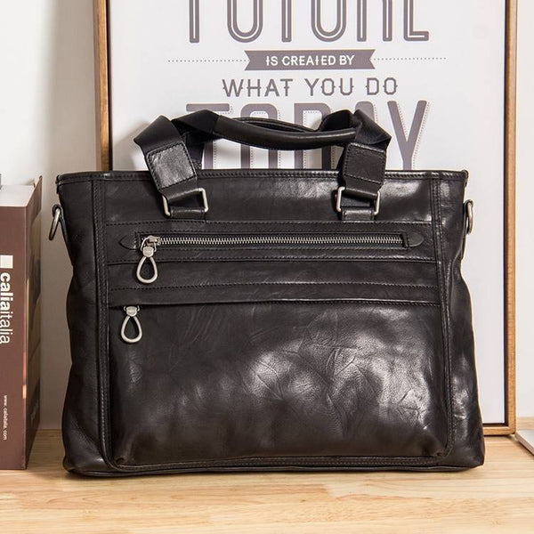 Chrisdale Full-Grain Black Leather Briefcase | Grittyrustic