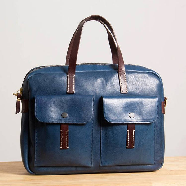 Copenhagen Two-Tone Full-Grain Leather Briefcase | Grittyrustic