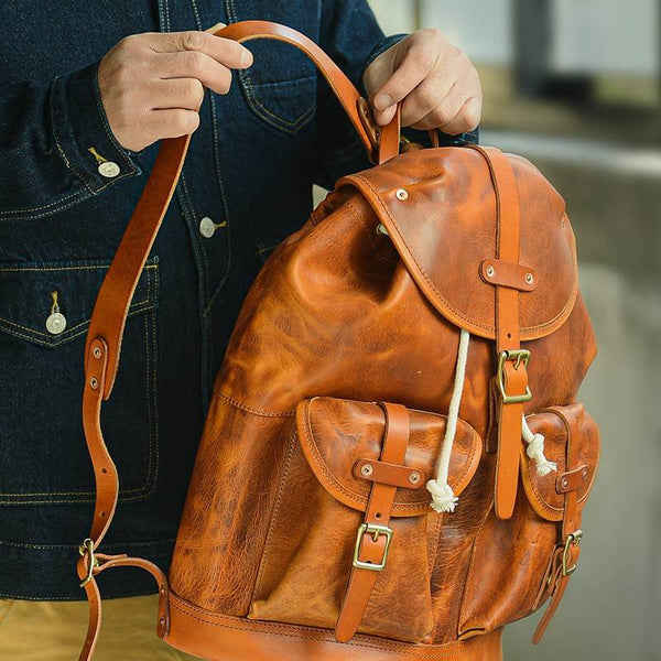 Goldberg Drawstring Full-Grain Leather Backpack | Grittyrustic