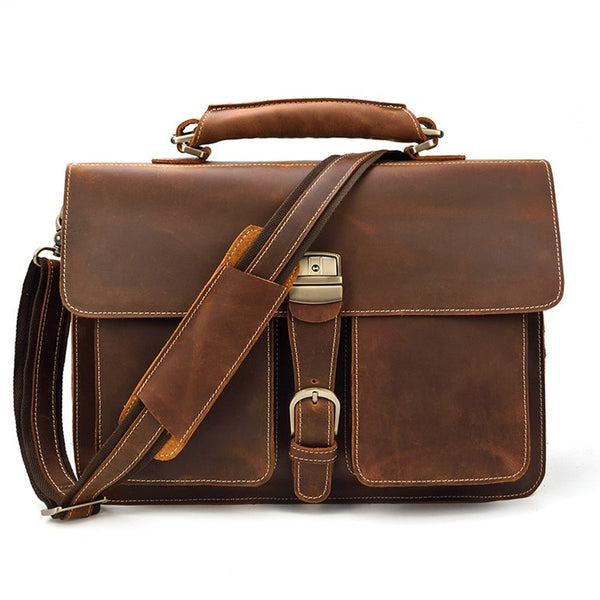 Lawman's Double Gusset Rustic Leather Briefcase | Grittyrustic.com