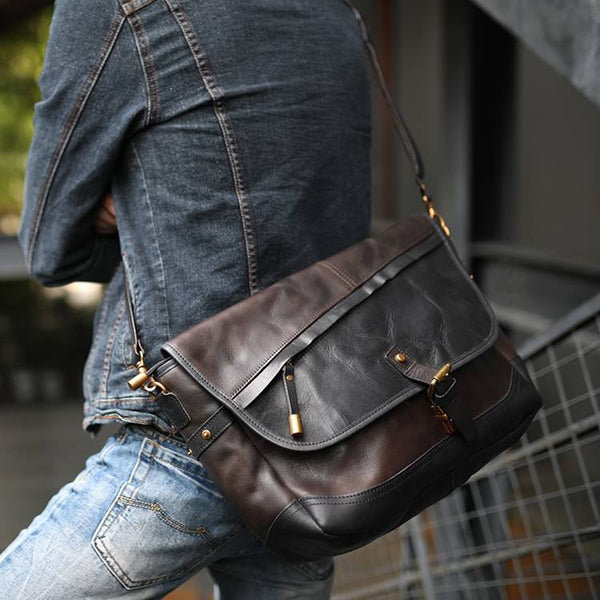 Novica Flap-Over Two-Tone Full-Grain Leather Satchel | Grittyrustic