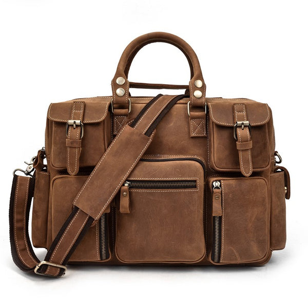 Organizer Carry-All Rustic Leather Briefcase | Grittyrustic.com