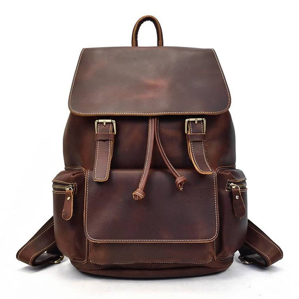 Retro Drawstring Rustic Leather Backpack | Grittyrustic.com