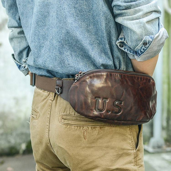 U.S. Parcel Full-Grain Rustic Leather Fanny Pack | Grittyrustic