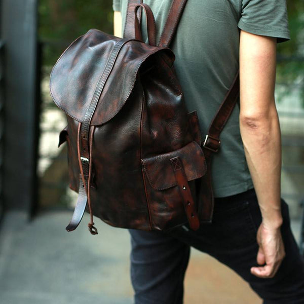 Vercelli Drawstring Full-Grain Leather Backpack | Grittyrustic