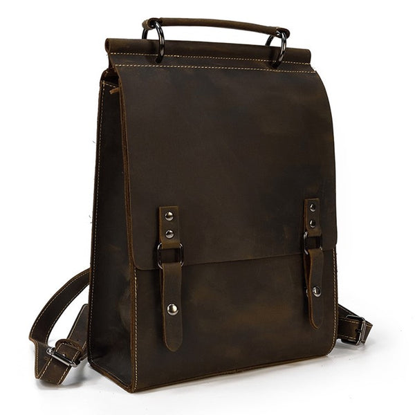 Vertical Minimalist Rustic Leather Backpack | Grittyrustic.com