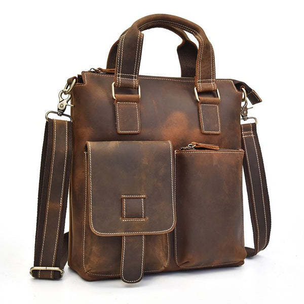 Vertical Organizer Rustic Leather Briefcase | Grittyrustic.com