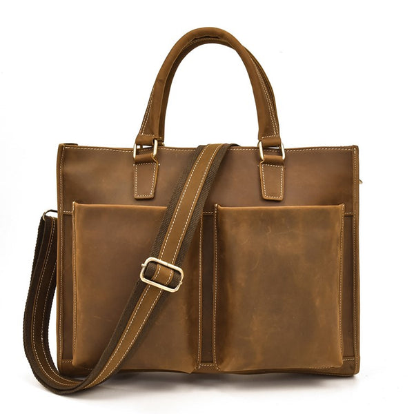 Vertical Two-Pocket Rustic Leather Briefcase Tote | Grittyrustic.com
