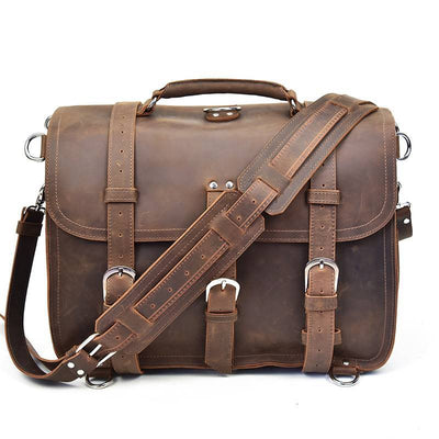 Flapover Tri-Buckle Exploration Leather Briefcase-Grittyrustic