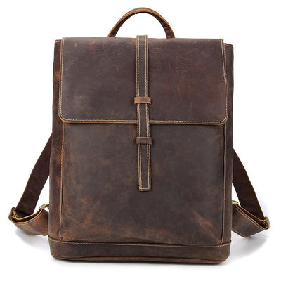 Archival Flap Over Leather Backpack - Grittyrustic