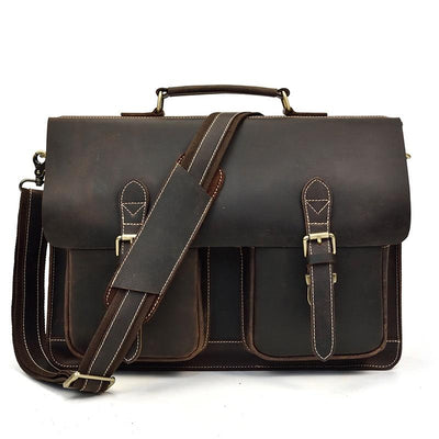 Classic Flapover Double Pocket Leather Briefcase - Grittyrustic