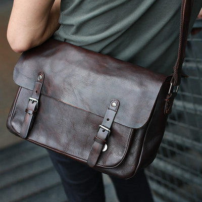 Classic Half-Flap Double Buckle Leather Messenger Bag - Grittyrustic