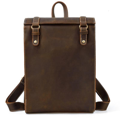 Clifford Vertical Two-Snap Leather Backpack - Grittyrustic