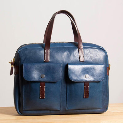 Copenhagen Two-Tone Carry-All Leather Briefcase - Grittyrustic