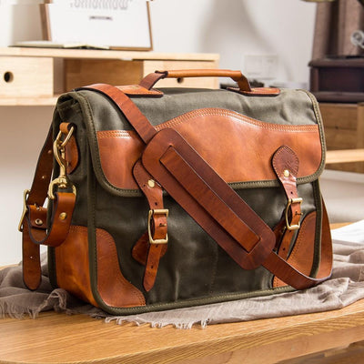 Dakota Two-Toned Canvas Leather Briefcase - Grittyrustic