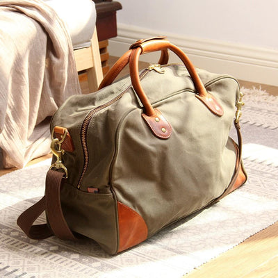 Dakota Two-Tone Canvas Leather Duffel Bag - Grittyrustic
