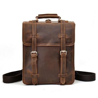 Exploration Flapover Tri-Buckle Leather Backpack - Grittyrustic