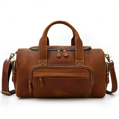 Express Weekender Leather Duffel Bag-Grittyrustic