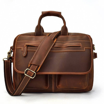 Flapover Double Pocket Leather Briefcase-Grittyrustic