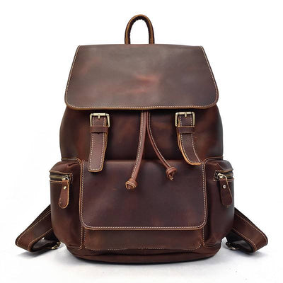 Flapover Double Buckle Drawstring Backpack-Grittyrustic