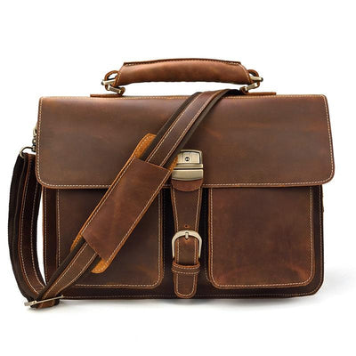 Lawman's Double Gusset Leather Briefcase-Grittyrustic