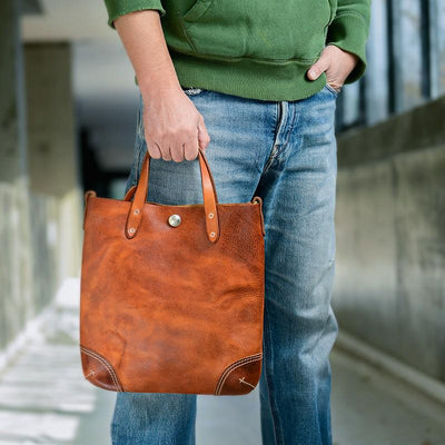 Little Texas Two-Tone Leather Tote Bag - Grittyrustic
