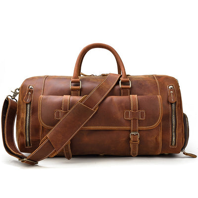Military Leather Duffel Bag-Grittyrustic