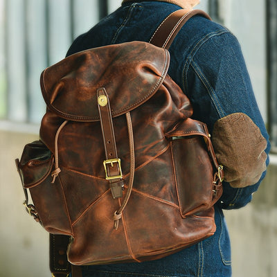 Oakenhide Drawstring Leather Backpack-Grittyrustic