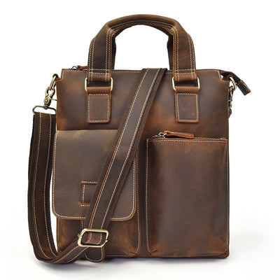 Vertical Organizer Leather Briefcase-Grittyrustic
