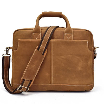 Portfolio Carry All Leather Briefcase-Grittyrustic