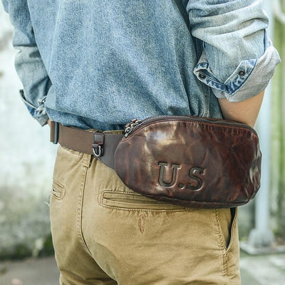 U.S. Parcel Full-Grain Leather Waist Pack - Grittyrustic