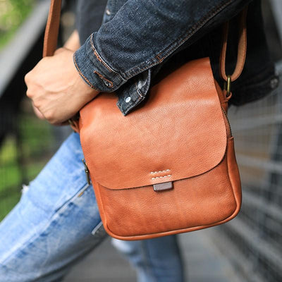 Verti Half-Flap Leather Messenger Bag - Grittyrustic
