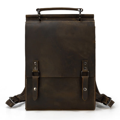 Vertical Half Flap Leather Backpack-Grittyrustic