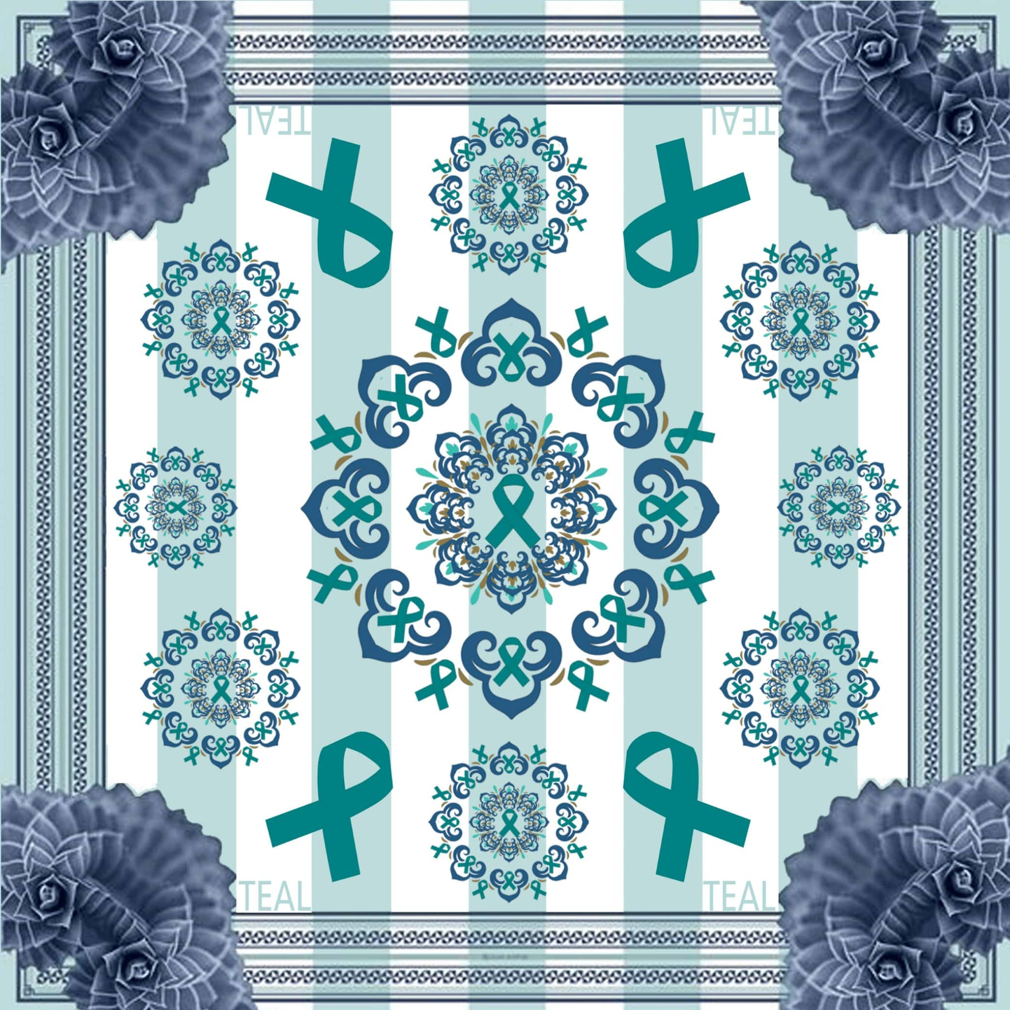 TEAL - Purple Flowers Print