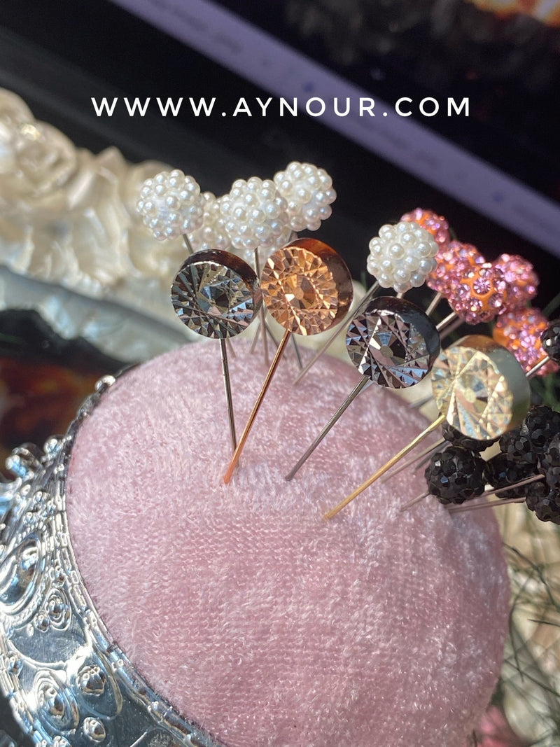 3 of Silver metallic luxurious basic pins - Aynour.com
