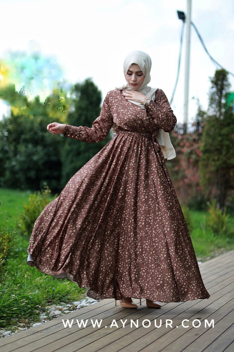 Flory Satin Brown classy Modest Dress