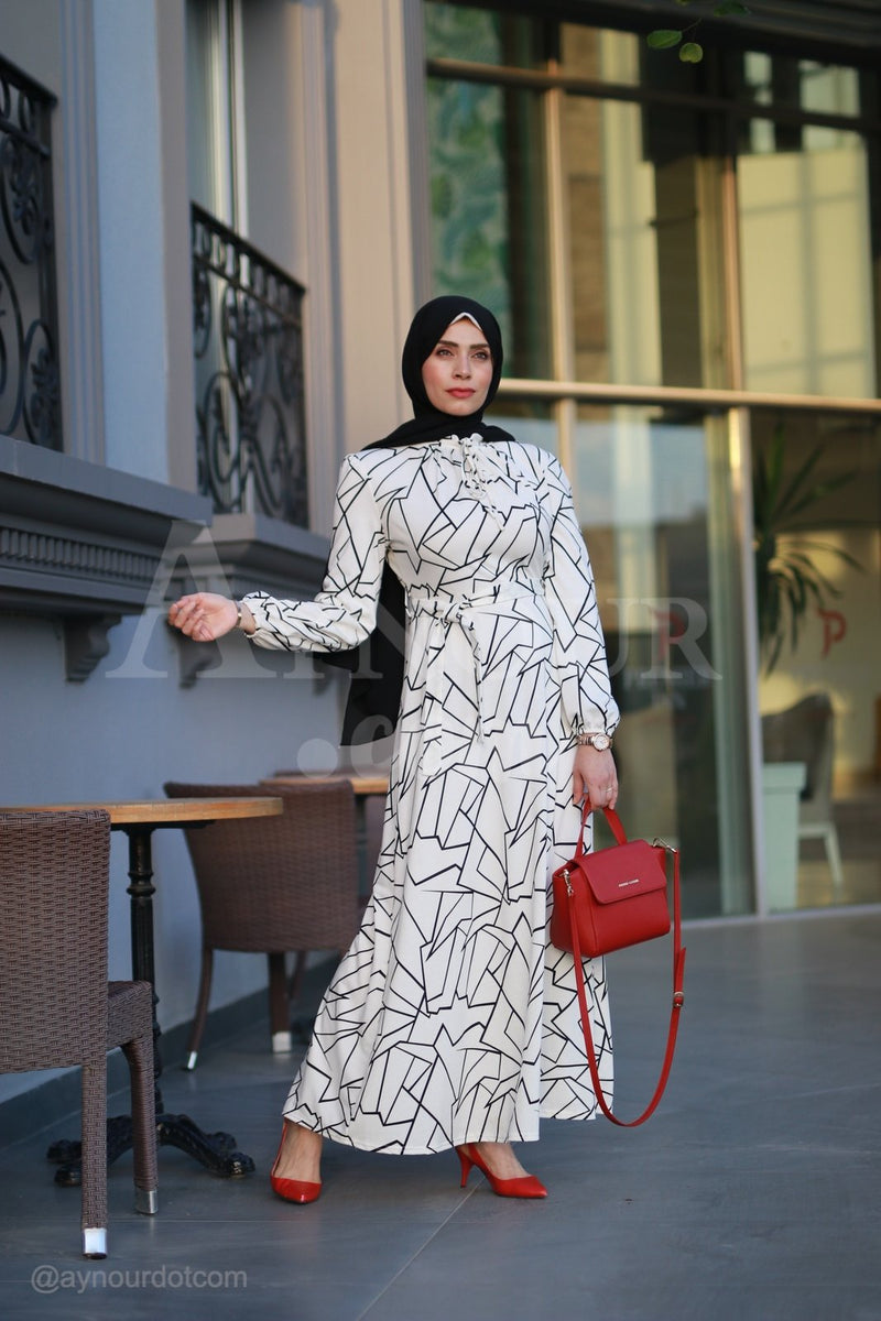 Adorable Black and White Prints Modest Dress 2020 - Aynour.com