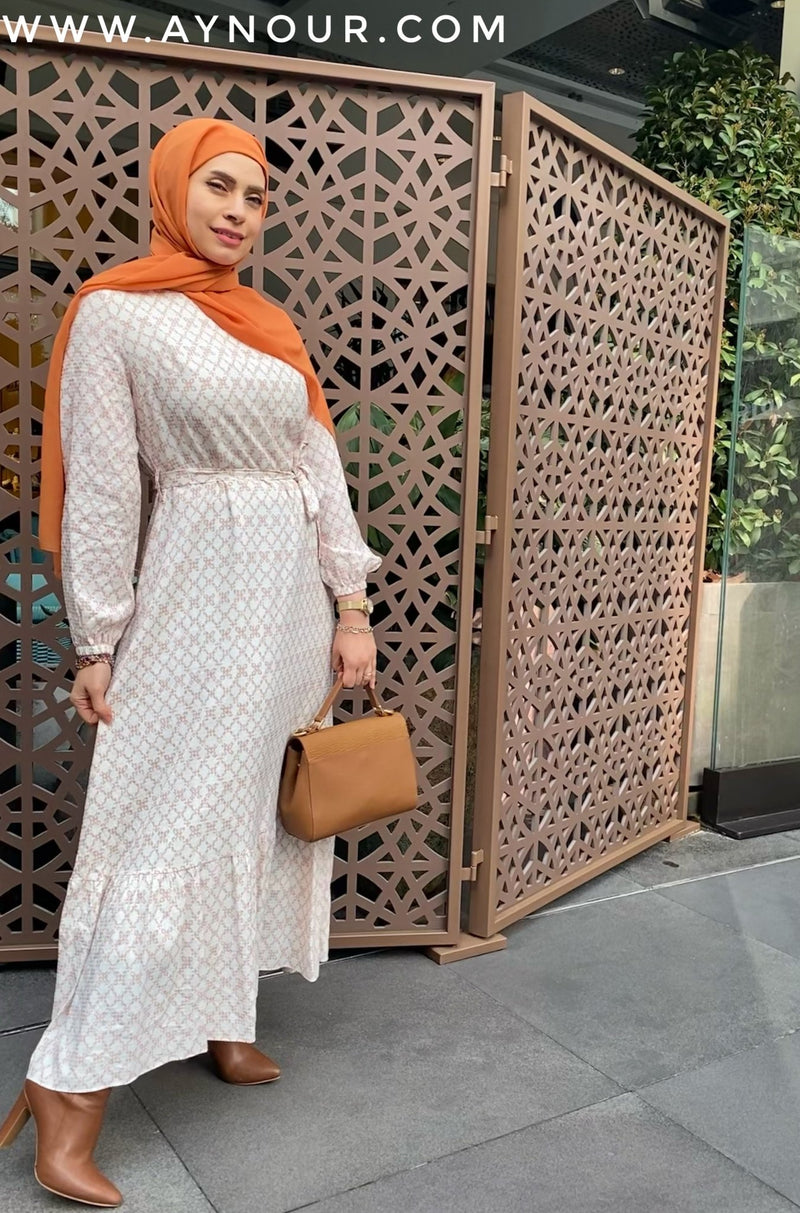 Adorable sunny and White shapes Modest Dress - Aynour.com