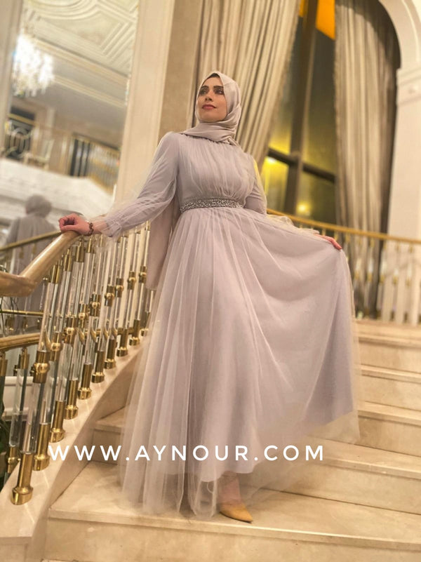 Alisa Gray Glory Lady Tulle Modest Dress 2020 - Aynour.com