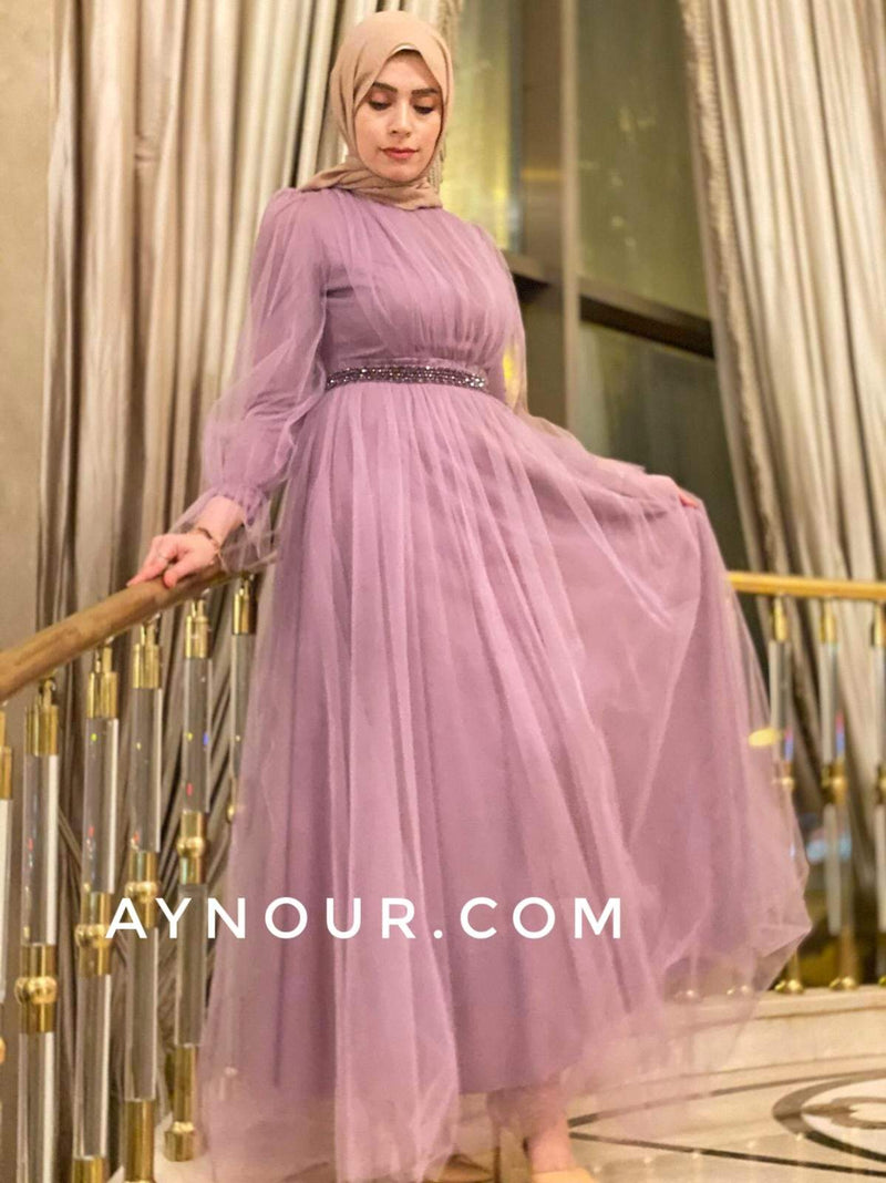 Alisa Rosy Lady Tulle Modest Dress 2020 - Aynour.com
