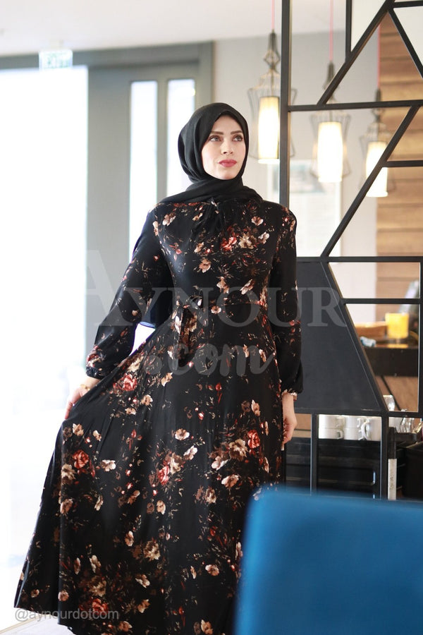 Amazing Black With Flowers Prints Modest Dress 2020 - Aynour.com